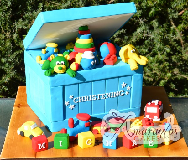 Two tier with Christening Toy Box - CC24 - Amarantos Cakes Melbourne