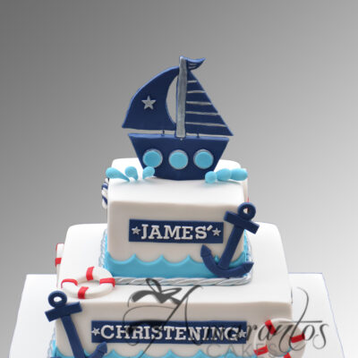 Two tier Christening cake with sail boat - CC25