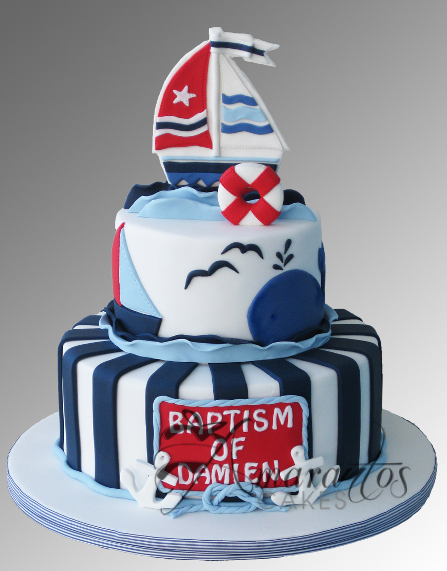 Two tier Nautical Cake CC32