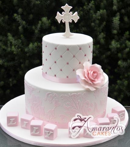 Two Tier Baptism Cake - Amarantos Designer Cakes Melbourne