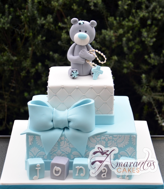 Two tier with Teddy - Amarantos Cakes Melbourne