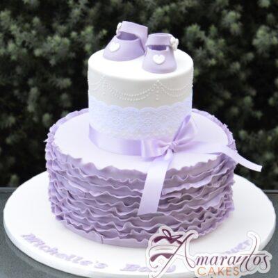Ruffle cake with booties - Amarantos Designer Cakes Melbourne