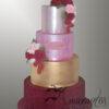 8 Tier burgundy gold Christening cake