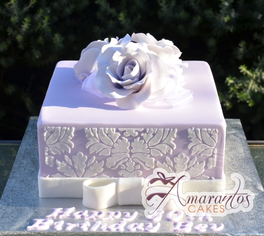 Square with Damask and Roses Cake - Amarantos Designer Cakes Melbourne