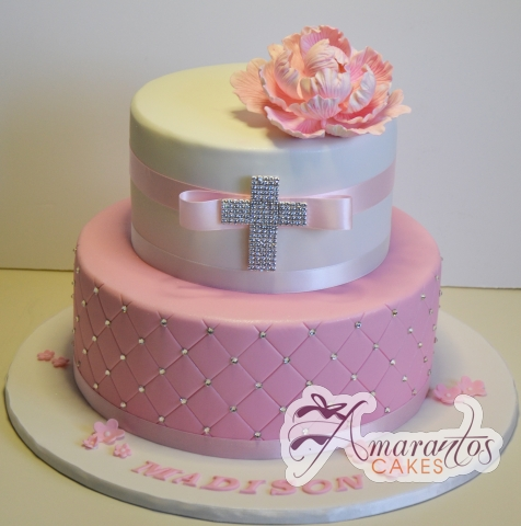 Two tier with corss - Amarantos Designer Cakes Melbourne