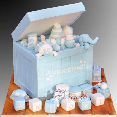 Two Tier Christening Toy Box Cake - Amarantos Cakes Melbourne