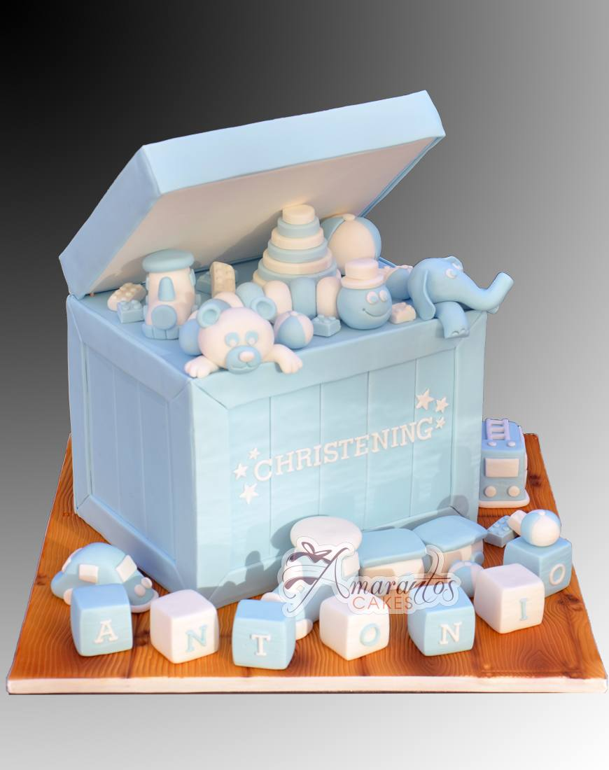 Two Tier Christening Toy Box Cake - Amarantos Cakes Melbourne