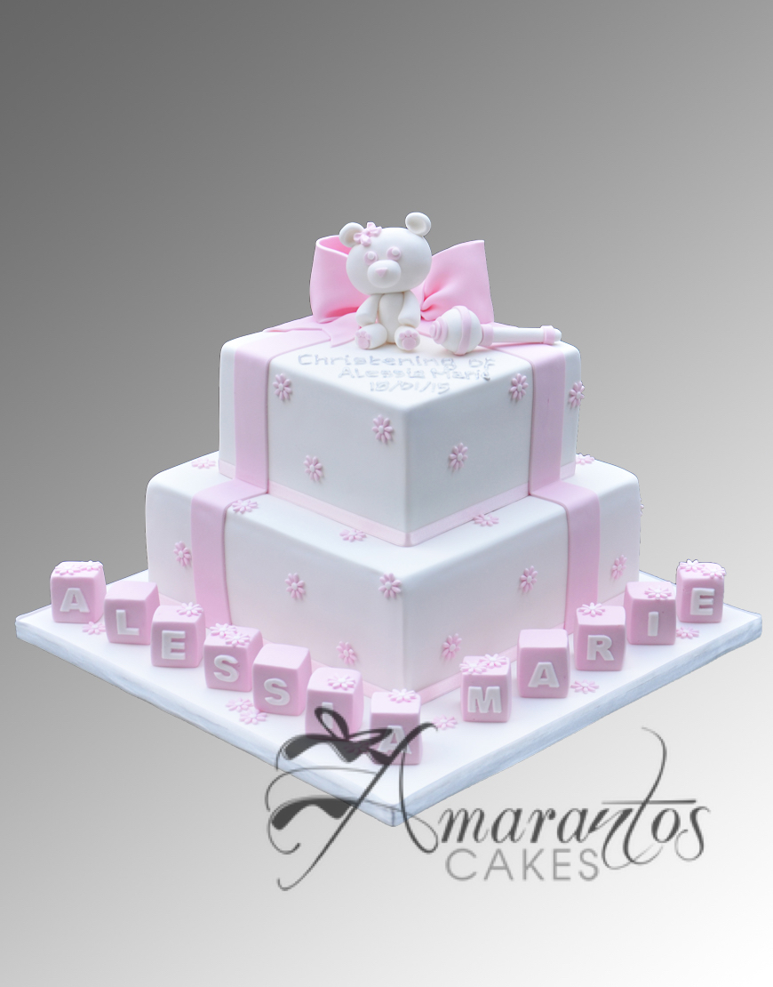 Two tier Cake with Teddy and Rattle CC81
