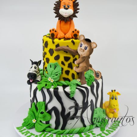 Two Tier Jungle Theme Cake – CC82