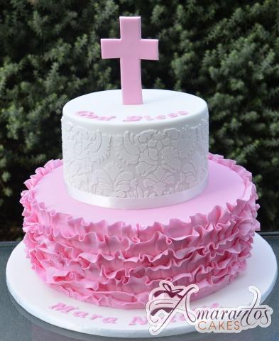 Two Tier With Cross Cake - Amarantos Designer Cakes Melbourne