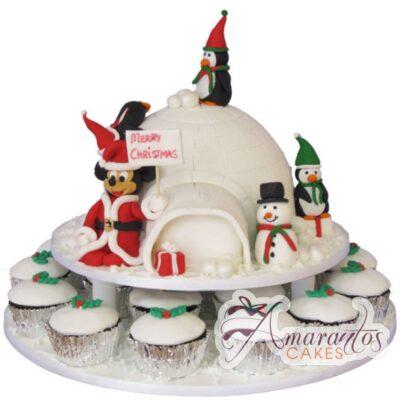 Mickey Christmas Cake and Cupcakes - Amarantos Designer Cakes Melbourne