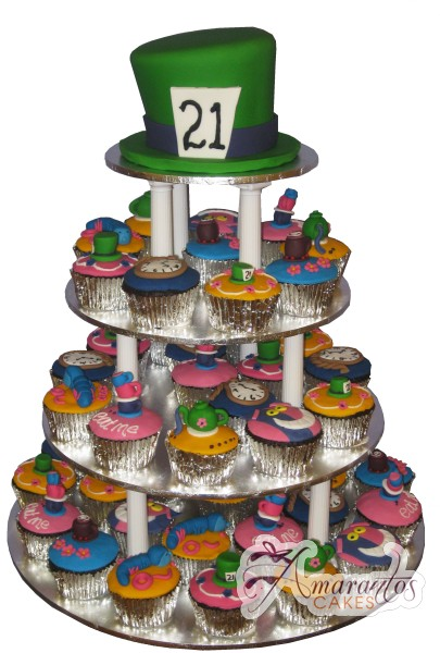 Mad Hatter Cupcake Tower - Amarantos Designer Cakes Melbourne