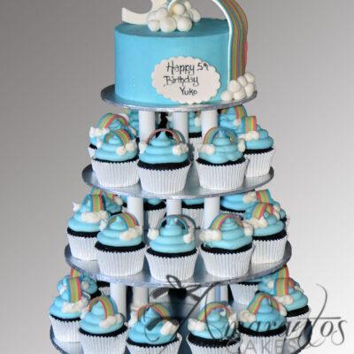 Rainbow cup cake tower CT05