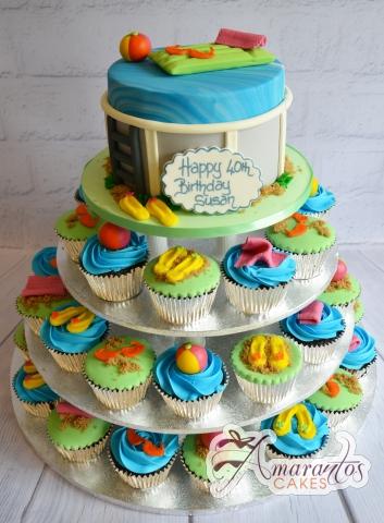 Pool Party Cup Cake Tower- Amarantos Designer Cakes Melbourne