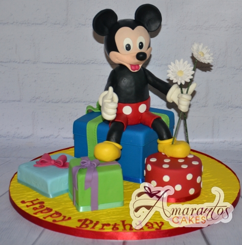 3D Mickey and Presents Cake - Amarantos Cakes Melbourne