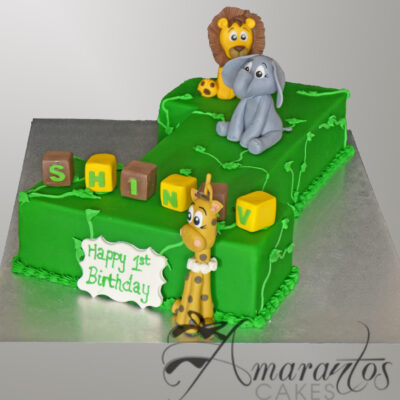 Jungle Cake for 1st Birthday - Amarantos Designer Cakes Melbourne