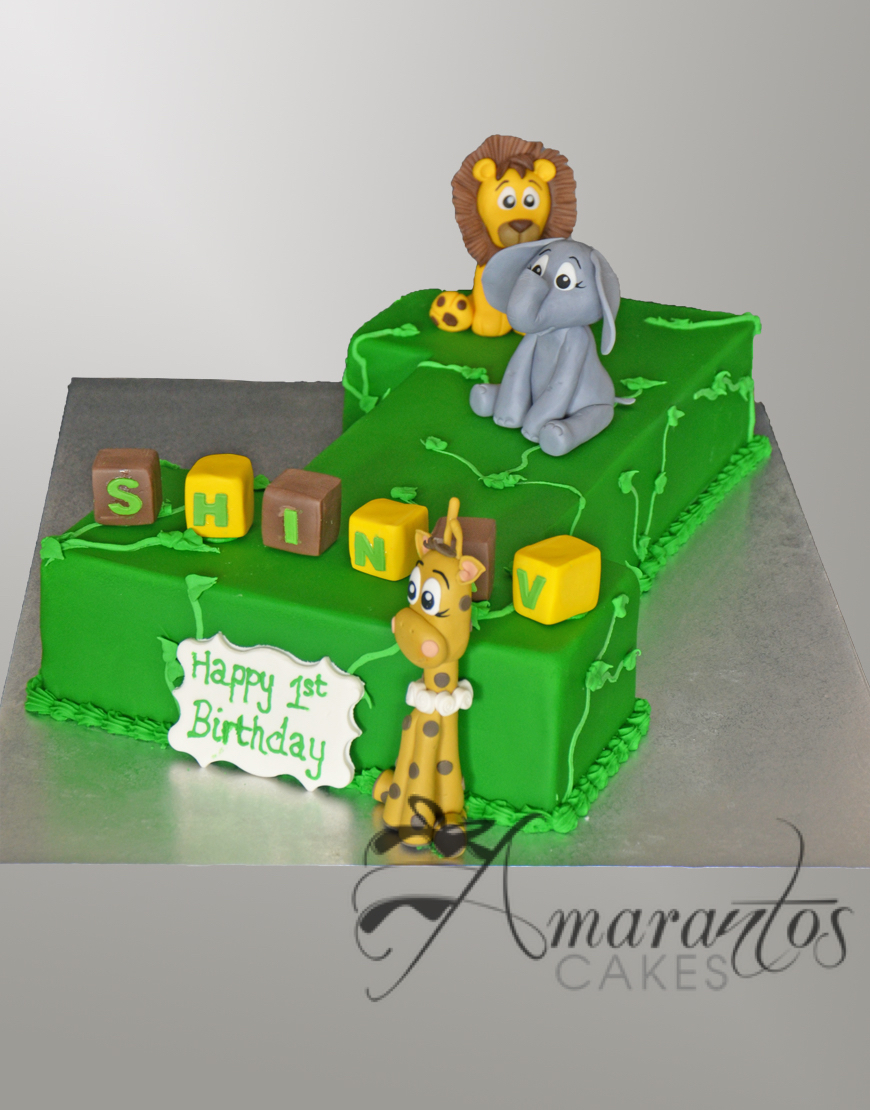 Jungle Cake for 1st Birthday - Amarantos Designer Cakes Melbourne