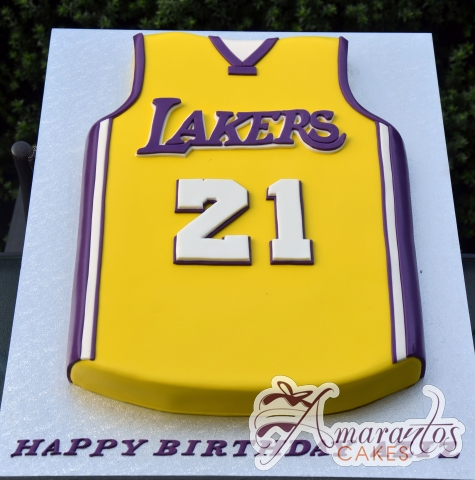 Lakers Basketball Jersey Cake - Amarantos Designer Cakes Melbourne