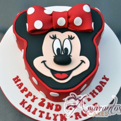 2D Minnie Face Cake - Amarantos Designer Cakes Melbourne
