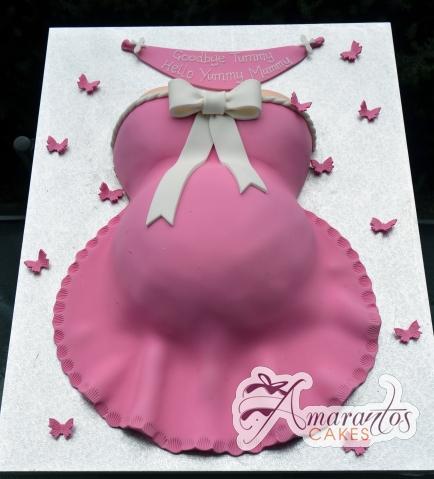 Baby Shower Mummy Pregnant Cake - Amarantos Cakes Melbourne