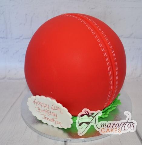 3D Cricket Ball Cake - Amarantos Designer Cakes Melbourne