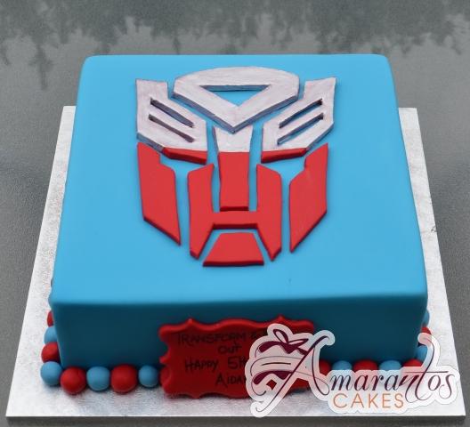 Square with Transformer Logo Birthday Cake - Amarantos Cakes Melbourne