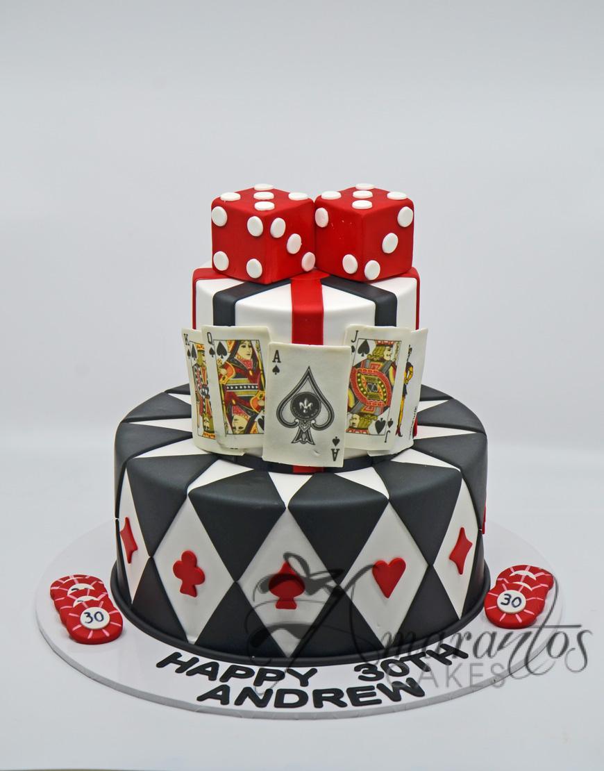 NC485 Two Tier Casino Themed Cake - Amarantos Custom Made Cakes Melbourne