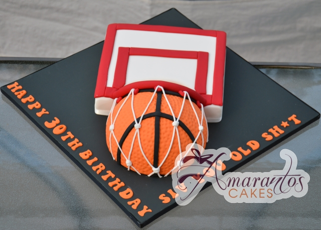 Basketball and Hoop Cake - Amarantos Designer Cakes Melbourne
