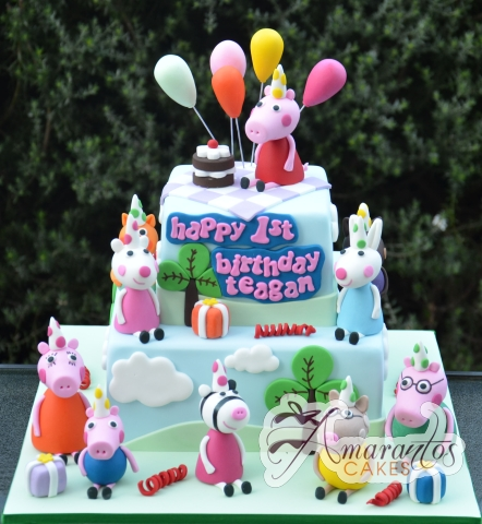 Two tier Peppa Pig Cake - NC570 - Amarantos Birthday Cakes Melbourne