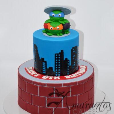 Two Tier Cake With TMNT - Amarantos Designer Cakes Melbourne