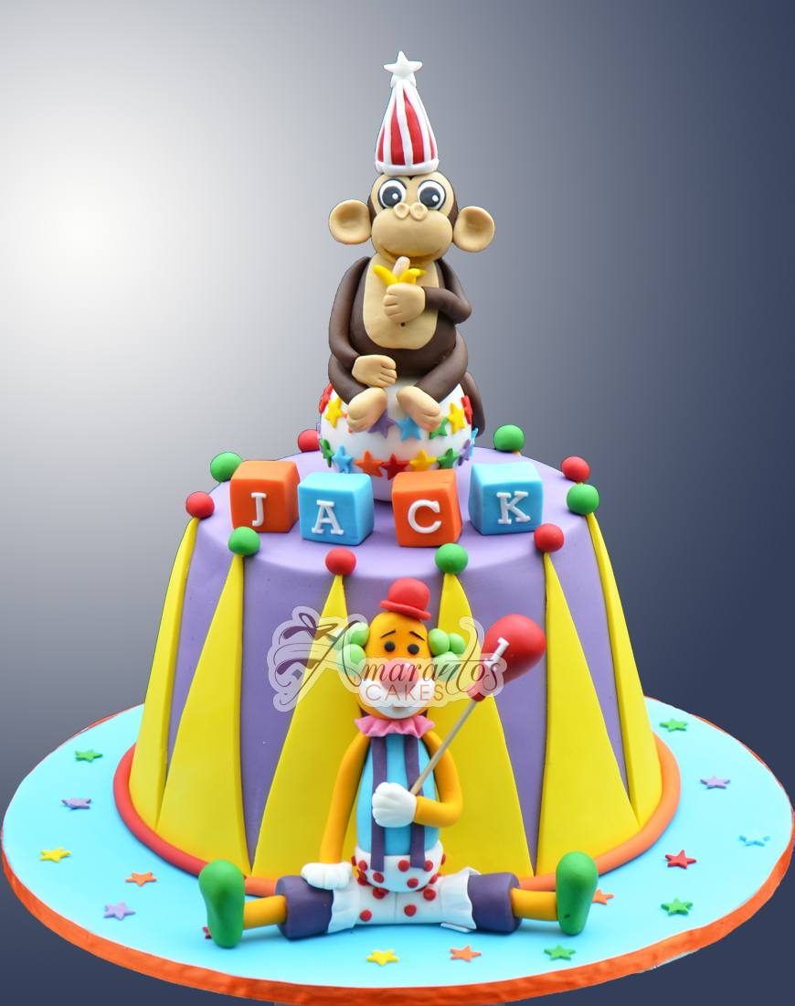 Monkey clown circus cake - Amarantos Designer Cakes Melbourne
