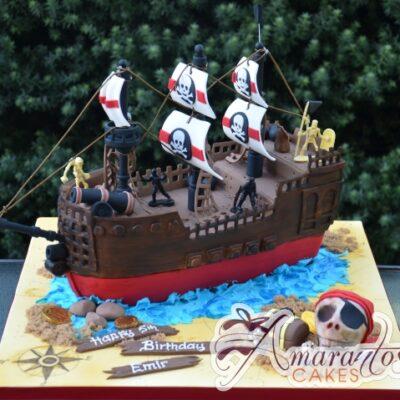 3D Pirate Ship Designed Cake - Amarantos Custom Made Cakes Melbourne