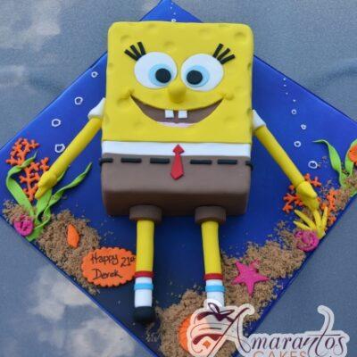 2D Sponge Bob Cake - NC669 - Amarantos Cakes Melbourne