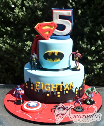 Two tier super hero cake - NC705 - Amarantos Cakes Melbourne