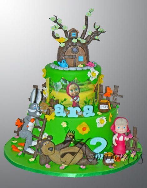 Two Tier Masha Bear Forest Cake - Amarantos Designer Cakes Melbourne