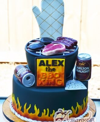 BBQ Two tier Beer Cake - Amarantos Designer Melbourne Cakes