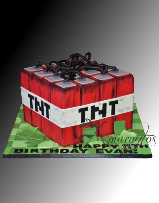 Minecraft TNT Cube Cake - NC860 - Amarantos Cakes