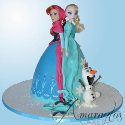 Elsa and Anna Doll Cake - Amarantos Cakes - NC94