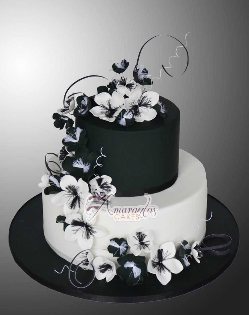 Two tier black and white cake WC16