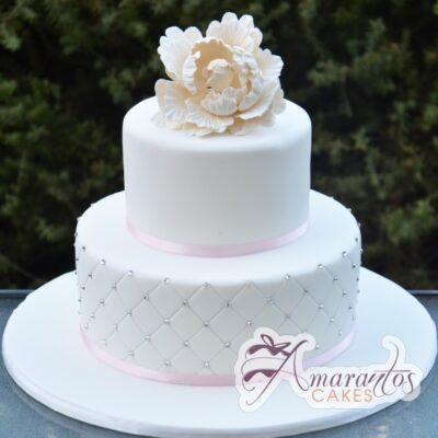 Two Tier With Flower Cake - Amarantos Custom Design Cakes Melbourne