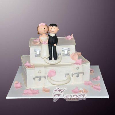 Bride and groom suitcase - - Amarantos Designer Cakes Melbourne