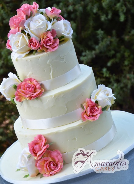 Three Tier flowers wedding cake - Amarantos Designer Cakes Melbourne