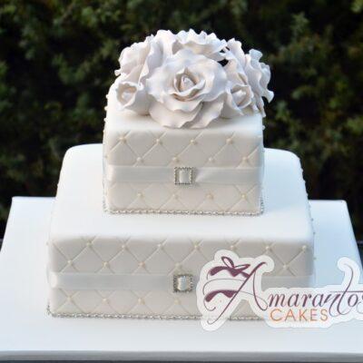 Square Two Tier With Flower Cake - Amarantos Designer Cakes Melbourne