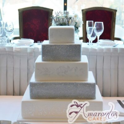 Five Tier Cake - WC22 - Amarantos Wedding Cakes Melbourne