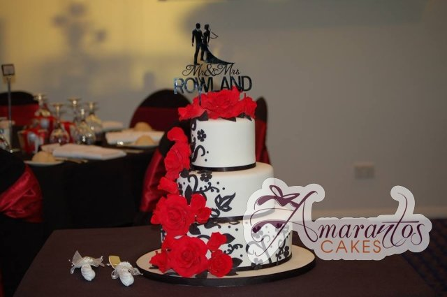 Three Tier red black wedding cake - Amarantos Designer Cakes Melbourne