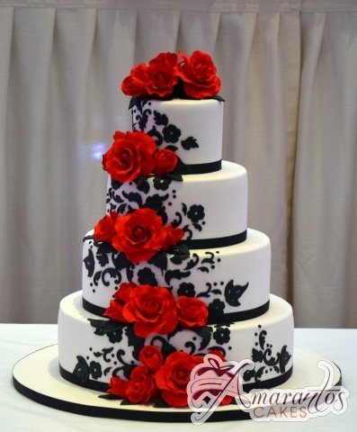 Four Tier with Roses Cake - Amarantos Custom Made Cakes Melbourne