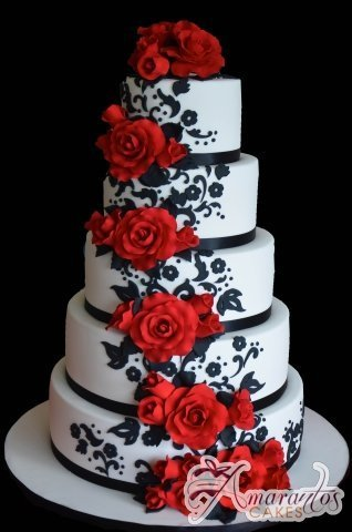 Five Tier with Roses Cake - Amarantos Designer Cakes Melbourne