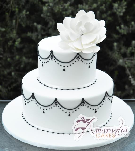 Two Tier With Flower Cake - Amarantos Designer Cakes Melbourne