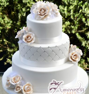 Three Tier With Roses Cake - Amarantos Designer Cakes Melbourne