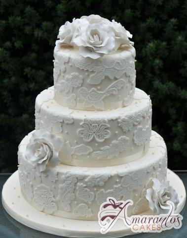 Three Tier Wedding Cake - Amarantos Custom Made Cakes Melbourne